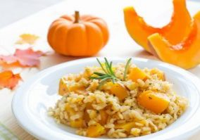 Rice dish with pumpkin, risotto on the plate